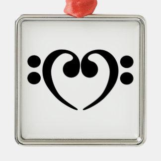 Stylish music bass clef heart design metal ornament
