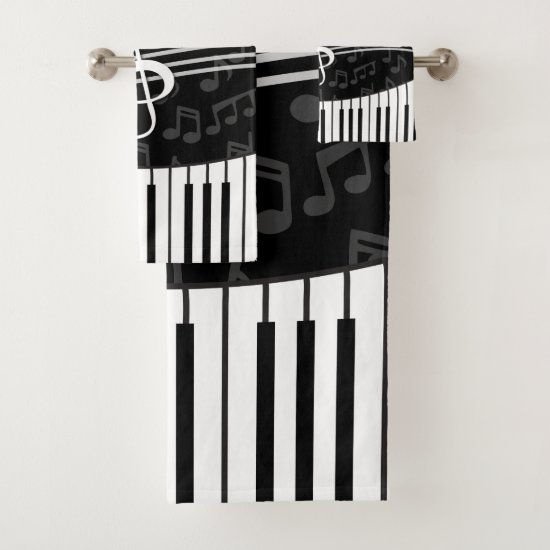 Stylish Music Notes Treble Clef and Piano Bath Towel Set