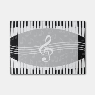 Stylish Music Notes Treble Clef and Piano Keys