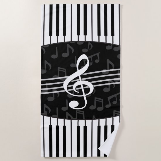 Stylish Music Notes Treble Clef and Piano Keys Beach Towel