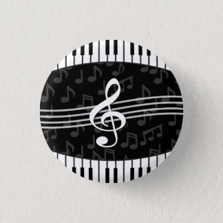 Stylish Music Notes Treble Clef and Piano Keys Button