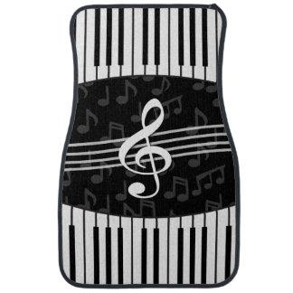 Stylish Music Notes Treble Clef and Piano Keys Car Mat