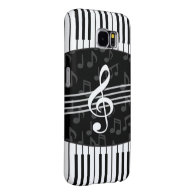 Stylish Music Notes Treble Clef and Piano Keys Samsung Galaxy S6 Cases