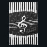 "Stylish Music Notes Treble Clef and Piano Keys Hand Towel<br><div class=""desc"">A stylish musical design in gray, black and white with a large treble clef in the center with curved piano keys creating a border at the top and bottom of the design with a subtle pattern of gray musical notes in the background. An eye-catching music gift for the pianist, music...</div>"