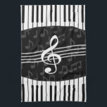 """Stylish Music Notes Treble Clef and Piano Keys Hand Towel<br><div class=""""desc"""">A stylish musical design in gray, black and white with a large treble clef in the center with curved piano keys creating a border at the top and bottom of the design with a subtle pattern of gray musical notes in the background. An eye-catching music gift for the pianist, music...</div>"""