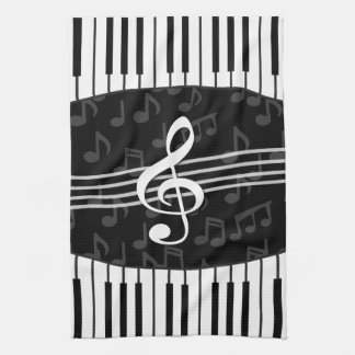 Stylish Music Notes Treble Clef and Piano Keys Hand Towel
