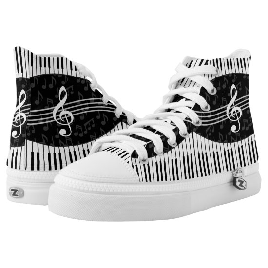 Stylish Music Notes Treble Clef and Piano Keys High-Top Sneakers