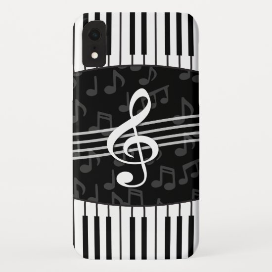 Stylish Music Notes Treble Clef and Piano Keys iPhone XR Case