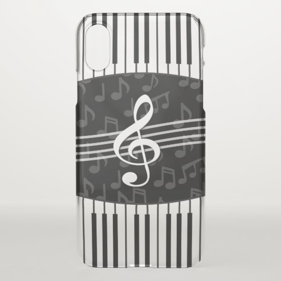 Stylish Music Notes Treble Clef and Piano Keys iPhone XS Case
