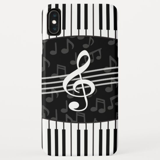 Stylish Music Notes Treble Clef and Piano Keys iPhone XS Max Case