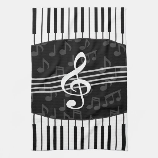 Stylish Music Notes Treble Clef and Piano Keys Kitchen Towels