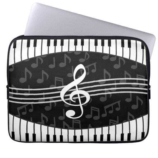 Stylish Music Notes Treble Clef and Piano Keys Laptop Sleeve