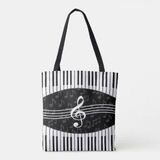Stylish Music Notes Treble Clef and Piano Keys Tote Bag