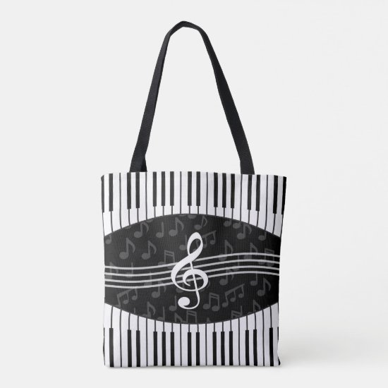 Stylish Music Notes Treble Clef and Piano Keys Tote Bag