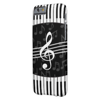 Stylish musical note clef and piano keys barely there iPhone 6 case