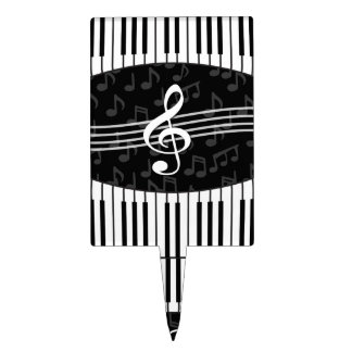 Stylish musical note clef and piano keys design cake topper
