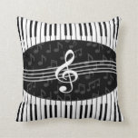 Stylish musical note clef and piano keys design pillows