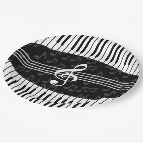 Stylish musical note clef and piano keys paper plate