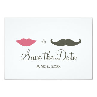 """Stylish Mustache and Lips Save the Date 3.5"""" X 5"""" Invitation Card"""