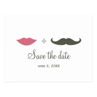 Stylish Mustache and Lips Save the Date Postcard