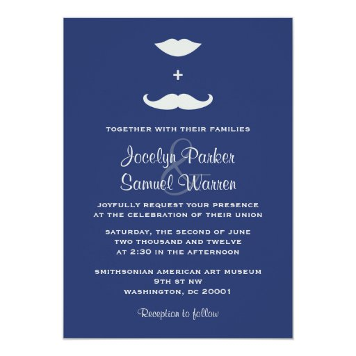 Stylish Mustache and Lips Wedding Card