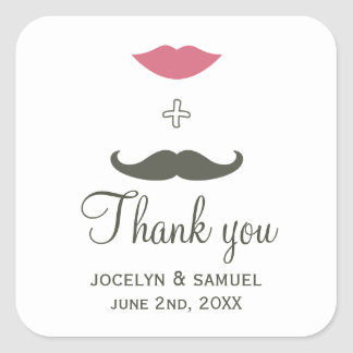 Stylish Mustache and Lips Wedding Favor Square Sticker