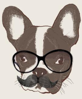 Stylish Mustache French Bulldog Tee Shirt