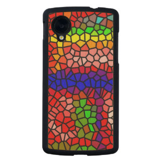 Stylish mutlicolored stained glass carved® maple nexus 5 case