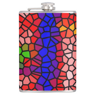 Stylish mutlicolored stained glass hip flask