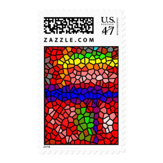 Stylish mutlicolored stained glass postage