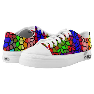 Stylish mutlicolored stained glass printed shoes