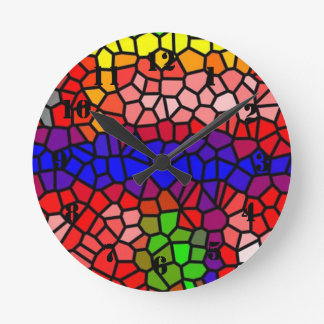 Stylish mutlicolored stained glass round clock