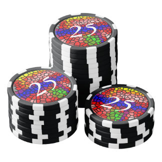 Stylish mutlicolored stained glass set of poker chips