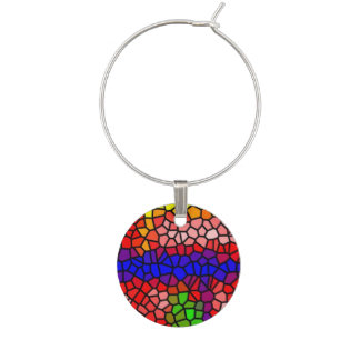 Stylish mutlicolored stained glass wine glass charm