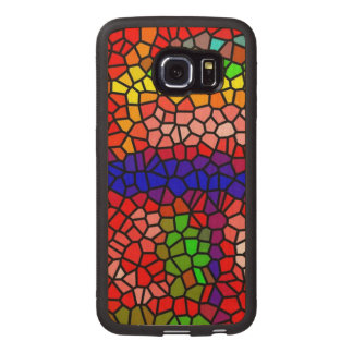Stylish mutlicolored stained glass wood phone case