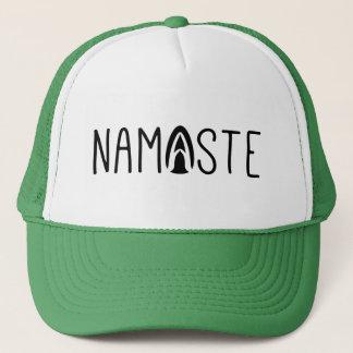 Stylish Namaste Yoga Greeting In Black Trucker Hat