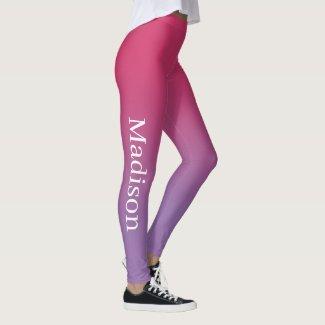 Stylish Name on Pink to Purple Gradient Leggings