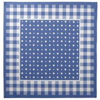 Stylish Napkins, Dark Blue Polka Dots and Gingham