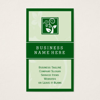 Stylish Nature Swirl Tree Leaf Green Symbol Business Card
