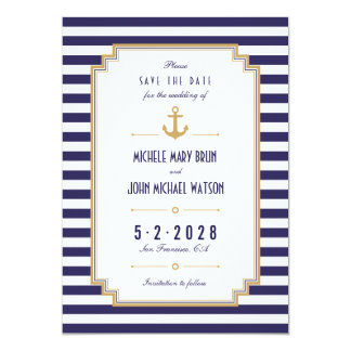 Stylish Nautical Anchor Save the Date Card