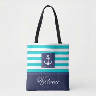 Stylish Nautical Aqua Navy Anchor Design Custom Tote Bag