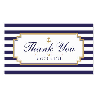 Stylish Nautical Blue White Thank You Tag Cards Business Card