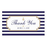 Stylish Nautical Blue White Thank You Tag Cards Double-Sided Standard Business Cards (Pack Of 100)