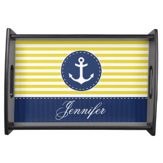Stylish Nautical Blue Yellow Anchor Personalized Serving Tray
