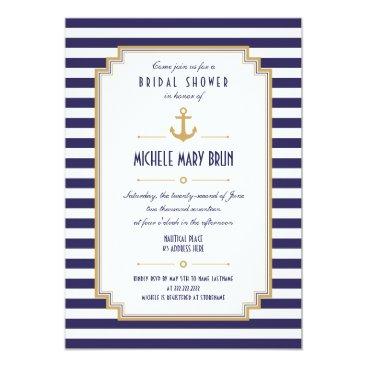 pinkpinetree Stylish Nautical Bridal Shower Invitation