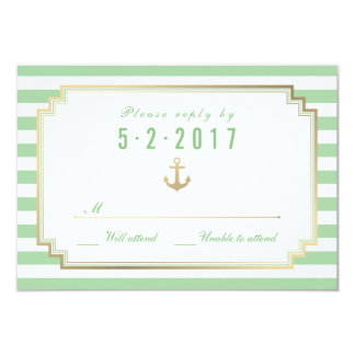 Stylish Nautical Custom Mint White RSVP Card