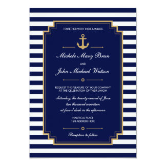 Stylish Nautical Dark Blue Wedding Invitation