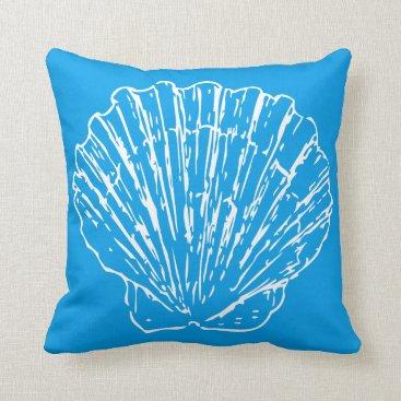Beach Themed Stylish Nautical Seashells On Azure Sky Blue Throw Pillow