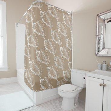 Beach Themed Stylish Nautical Seashells Pattern Tan Taupe Brown Shower Curtain
