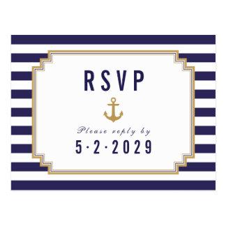 Stylish Nautical Striped Response RSVP Postcard